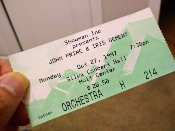 Ticket stub for John Prine and Iris DeMent show